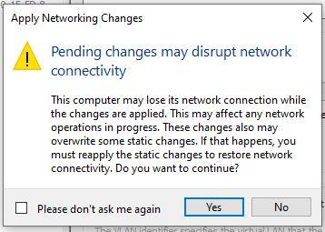 Aplicación de la configuración de red hyper-v windows 10