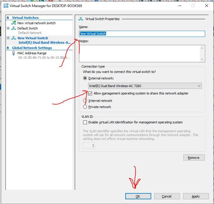 Propiedades del conmutador virtual de puente Hyper-manager Windows 10