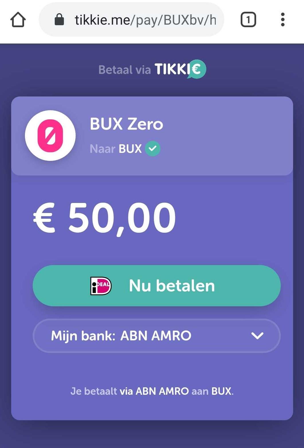 BUX Zero geld storten met tikkie