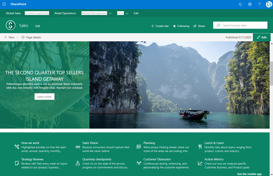 Sample Image Design Element on SharePoint Site
