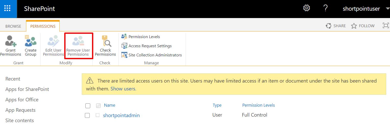 Remove user permissions