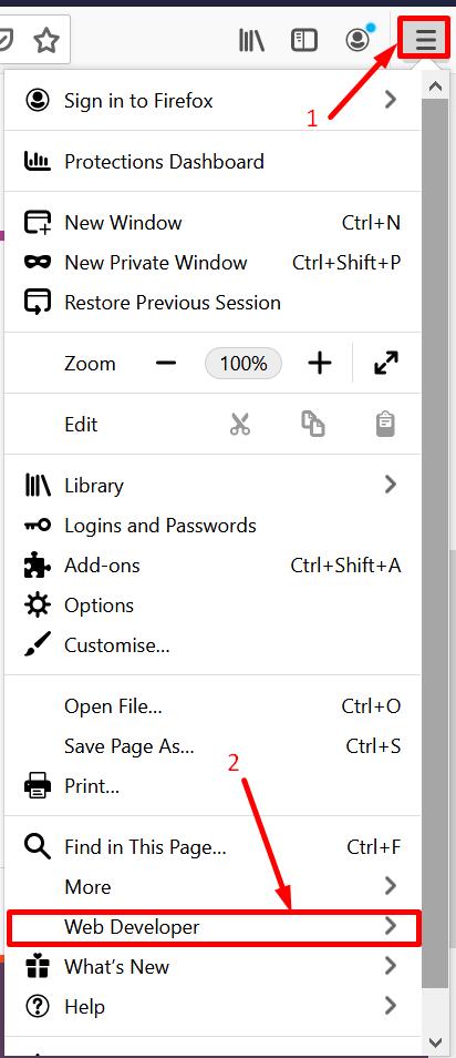 Open Web Developer in Firefox