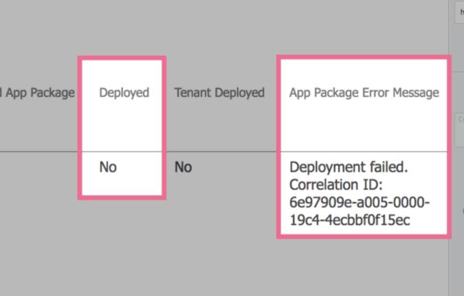 App was not deployed error