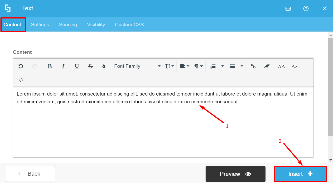 Content tab: text is added, prompted to click Insert to add the Design Element