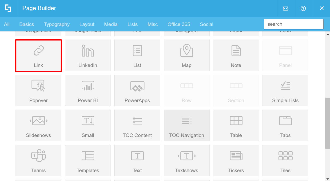 Link Design Element is selected from the Page Builder options