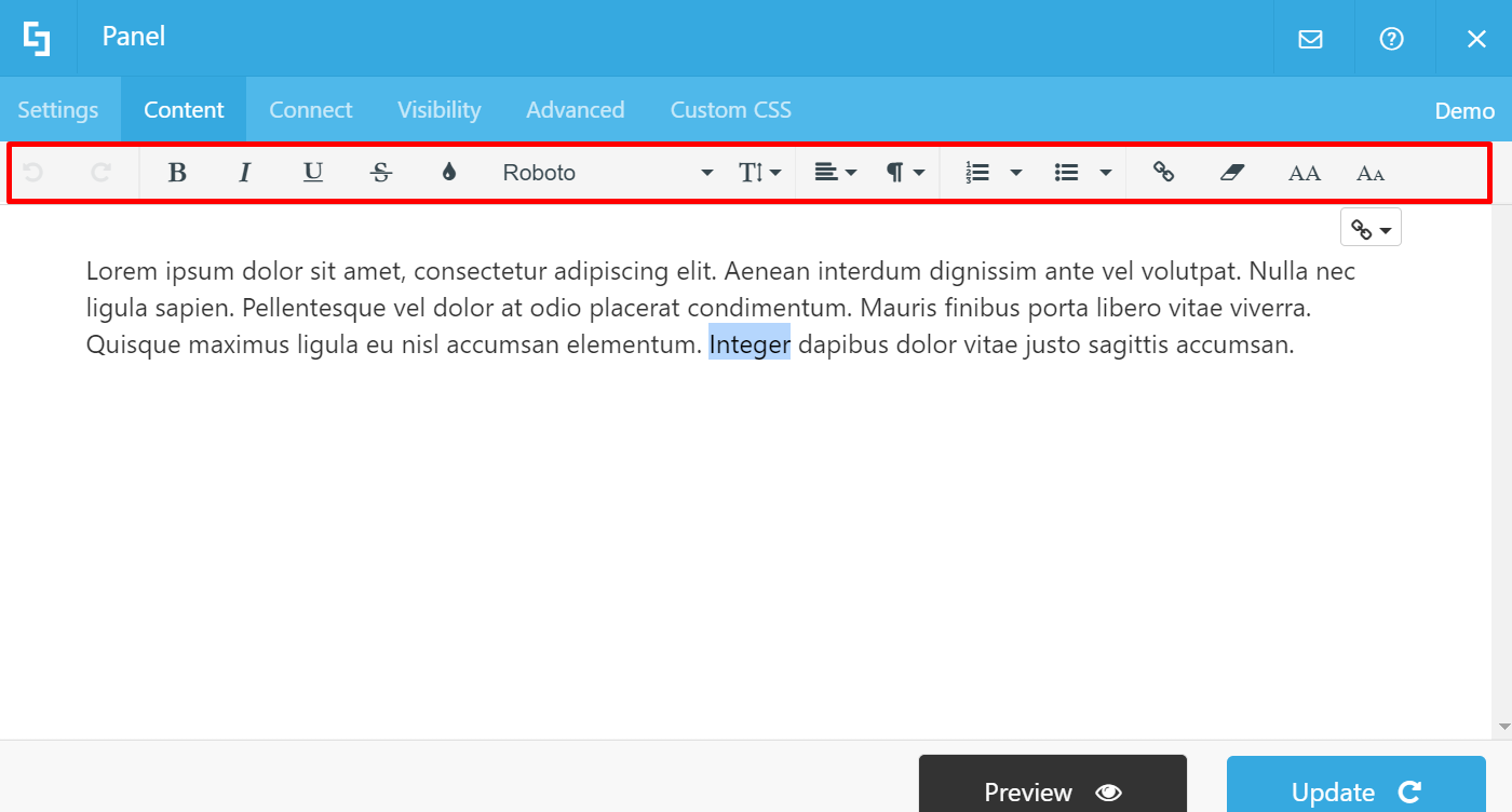 Access inline text editor