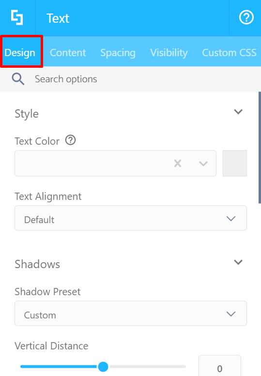 Design tab (Visual Builder)