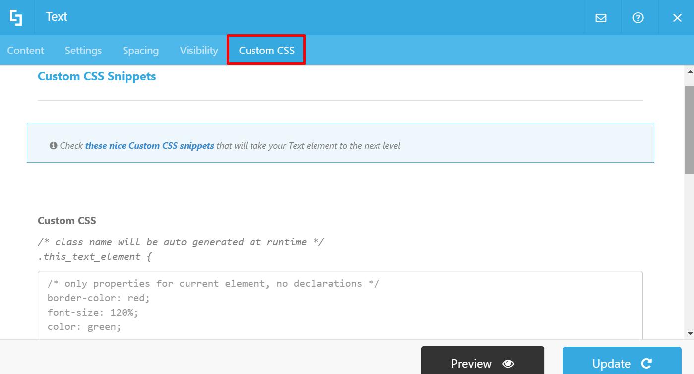 Custom CSS tab: Wireframe Builder