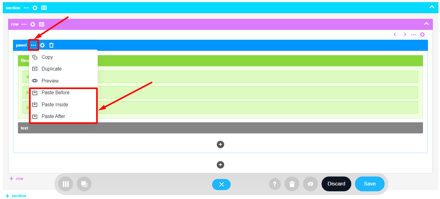 Paste options from the Other Actions drop-down in Wireframe Builder