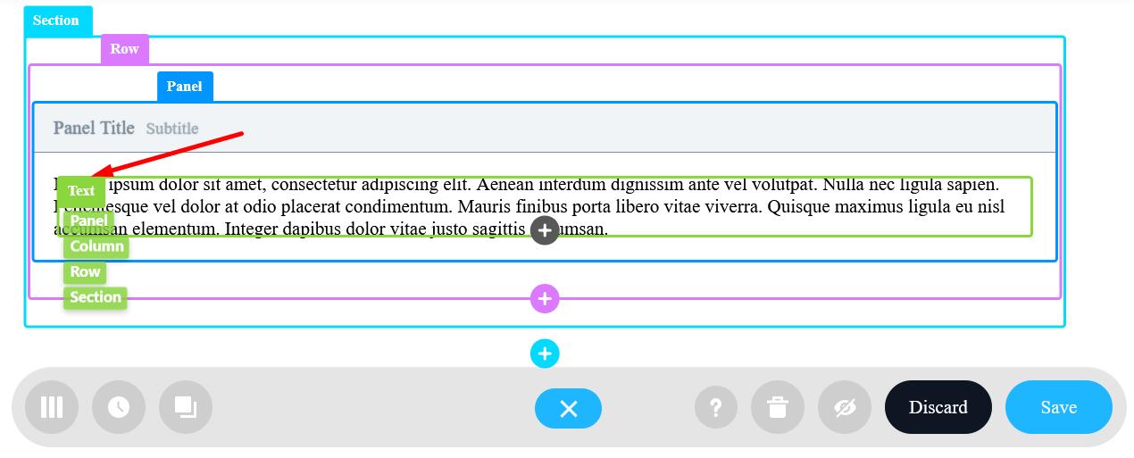 Text Design Element with default dummy text