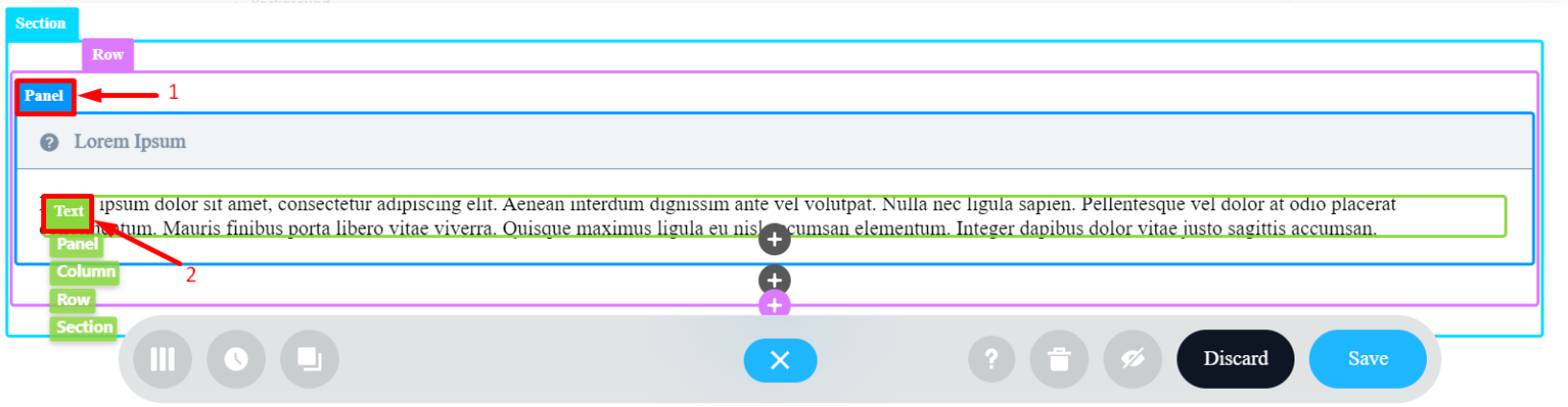 Panel title and Text content inside it: Visual Builder mode