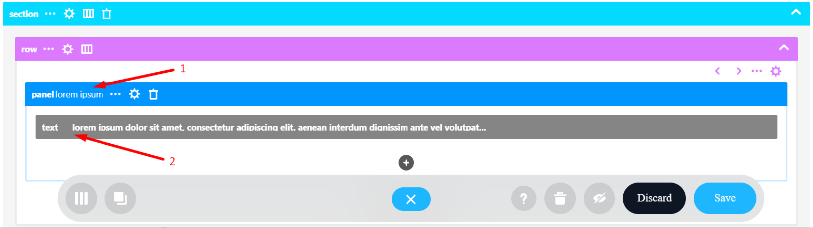 Panel title and Text content inside it: Wireframe Builder mode