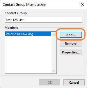 shows Add button on Contact Group Membership window
