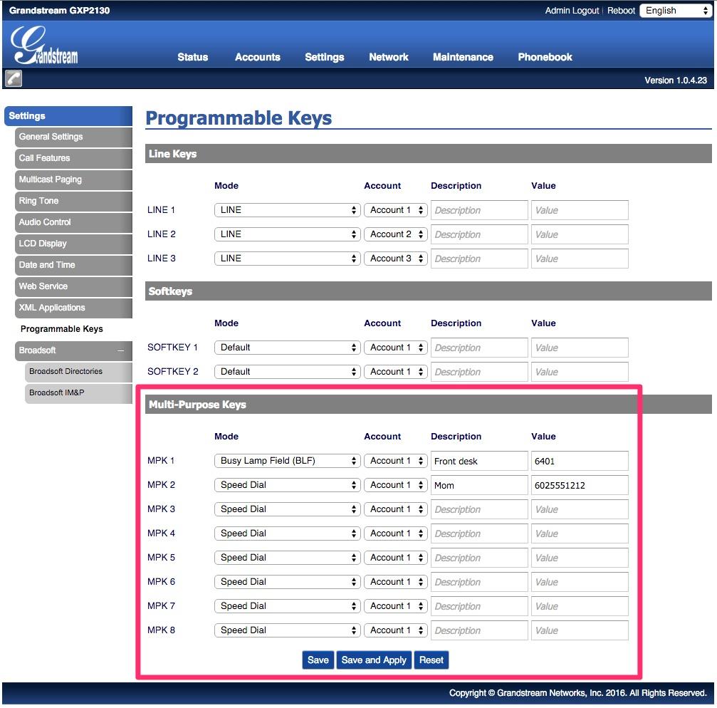 How to program Grandstream speed dial and status keys (BLF