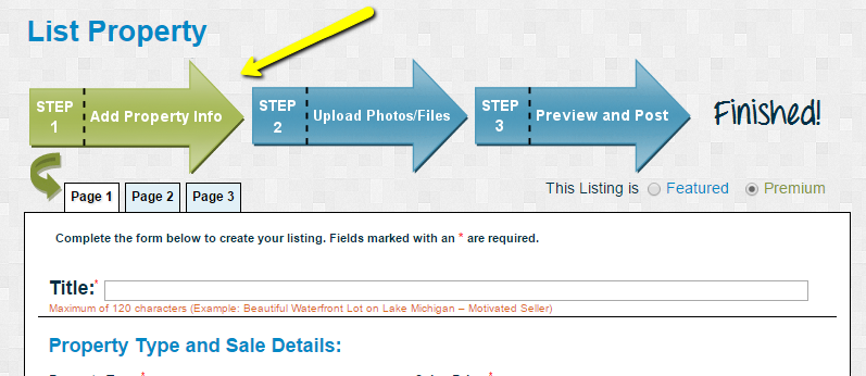 Create Listing Form - Step Arrows Help You Navigate
