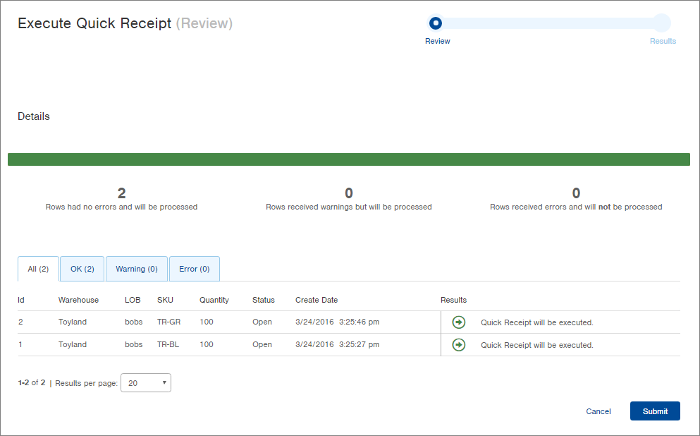 execute quick receipts infoplus support