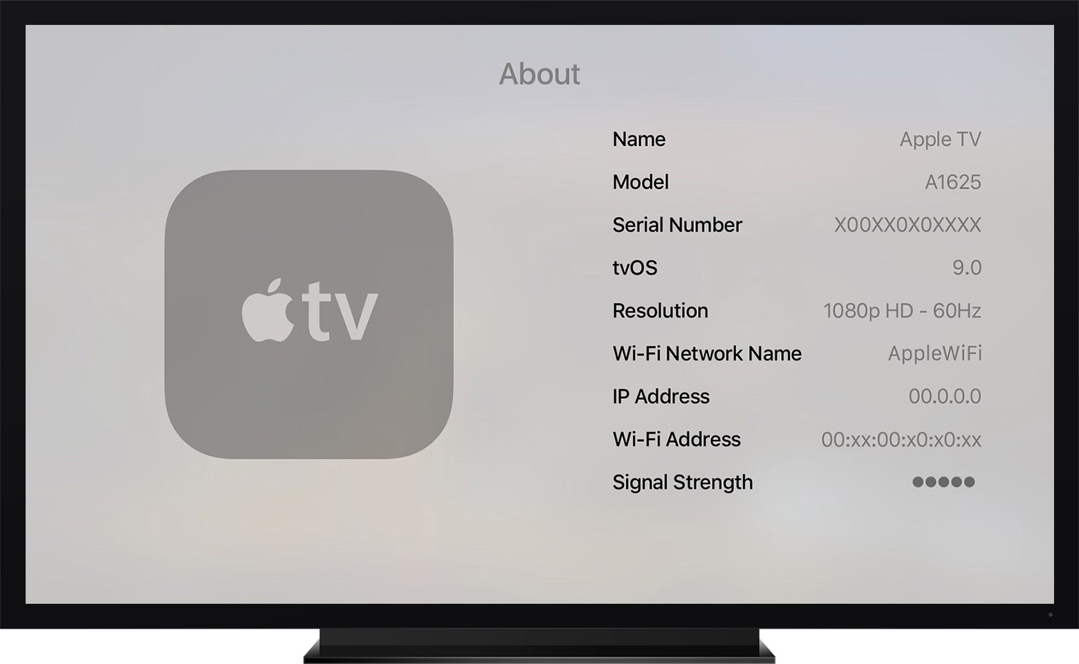 Apple TV About Screen