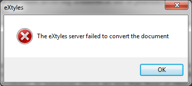The eXtyles server failed to convert the document