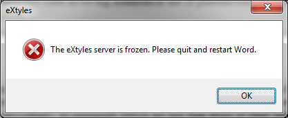 The eXtyles server is frozen. Please quit and restart Word.