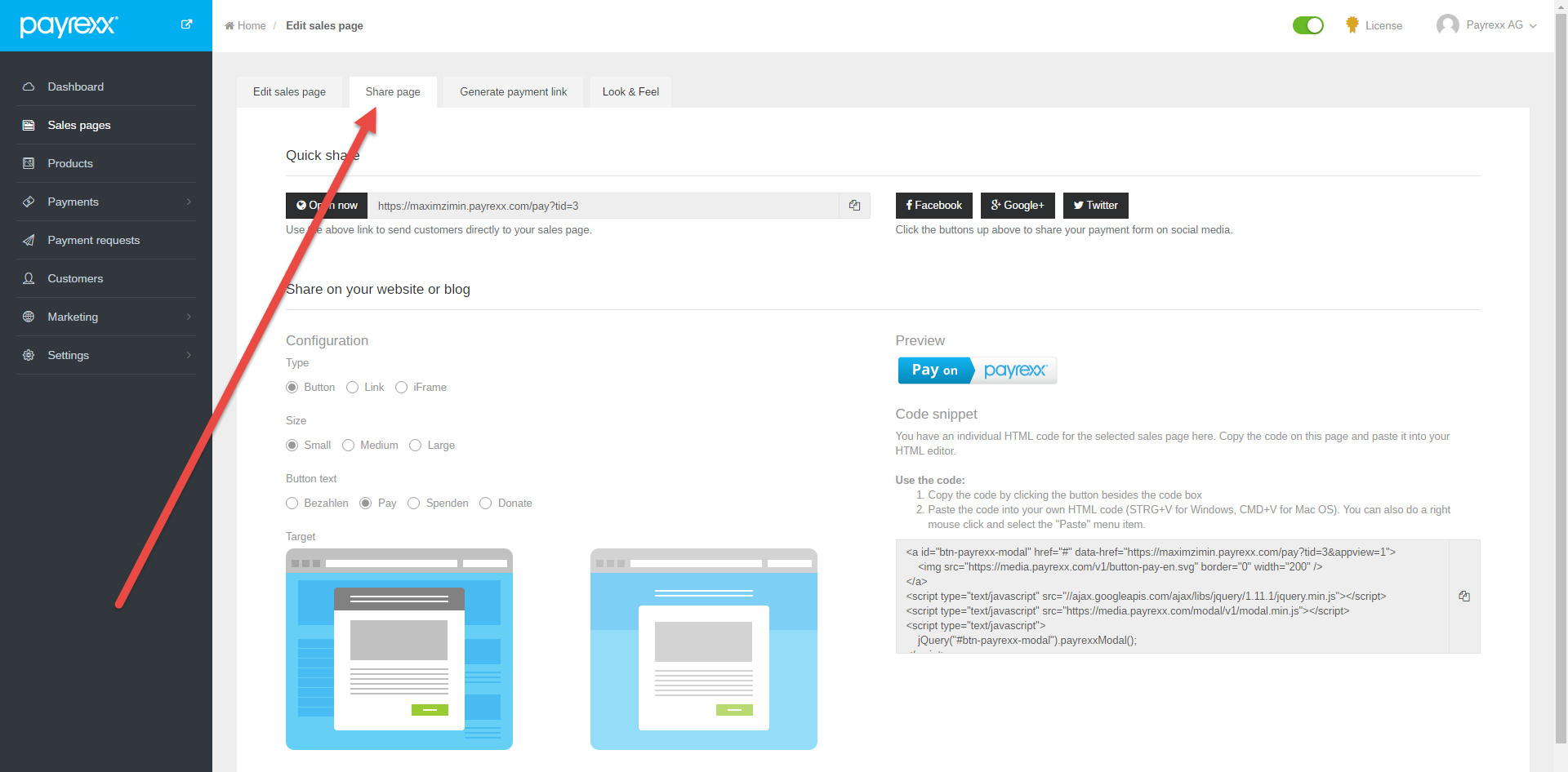 Payrexx integration in Weebly : Customer Support