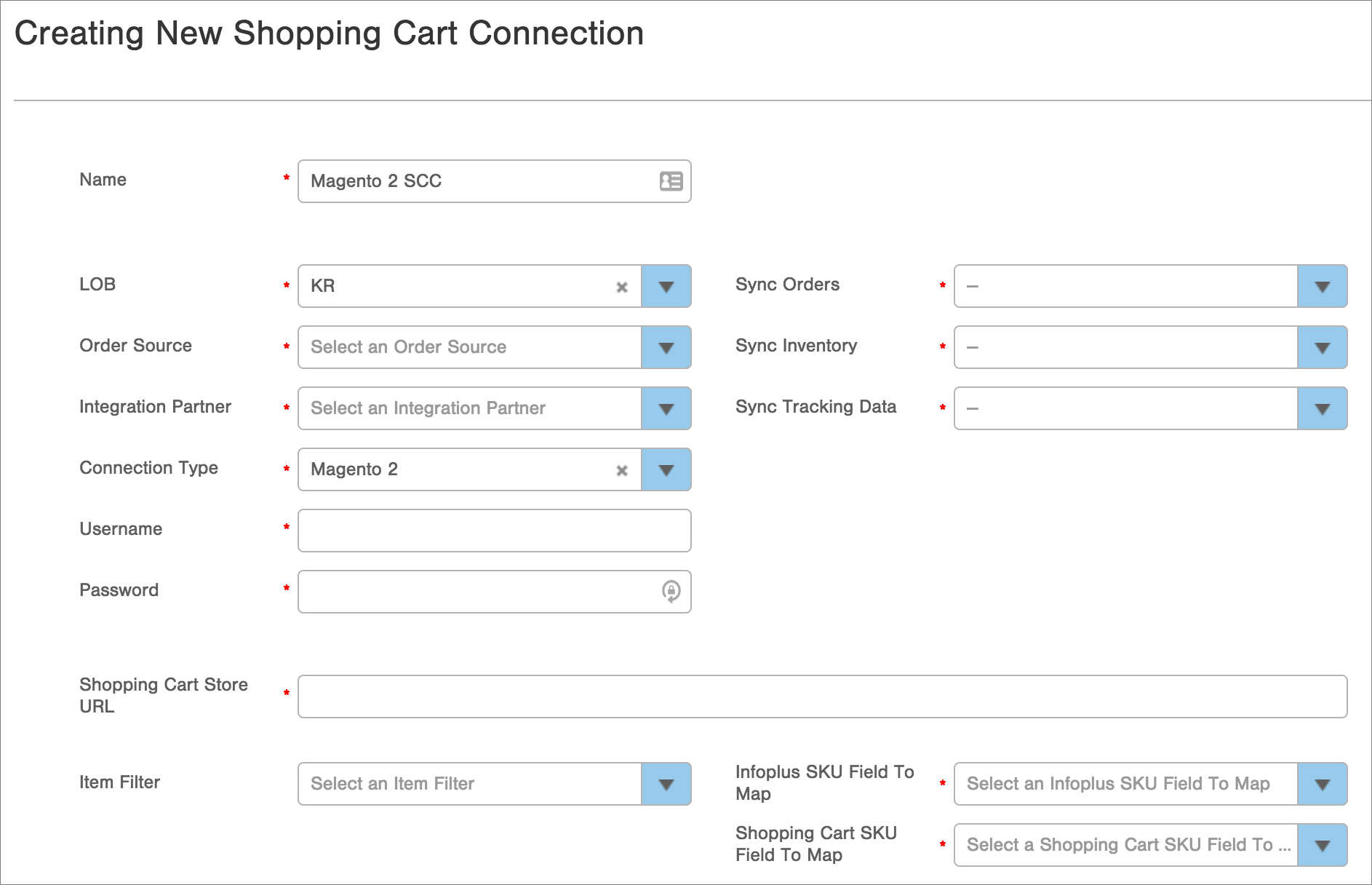 Infoplus dashboard - Creating an Infoplus Shopping Cart Connection for Magento 2