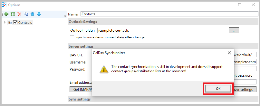 Outlook contacts sync error message when I select a contact folder