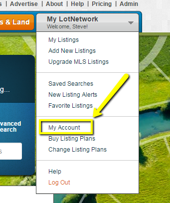 My Account option under My LotNetwork menu