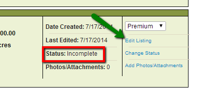 Edit Listing option on My Listings page