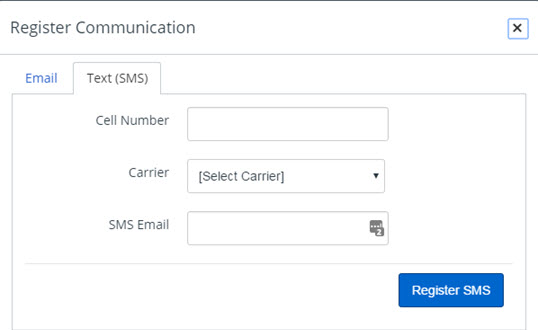 Dialog box for registering cell phone to receive SMS notifications. Required fields include cell number and carrier.