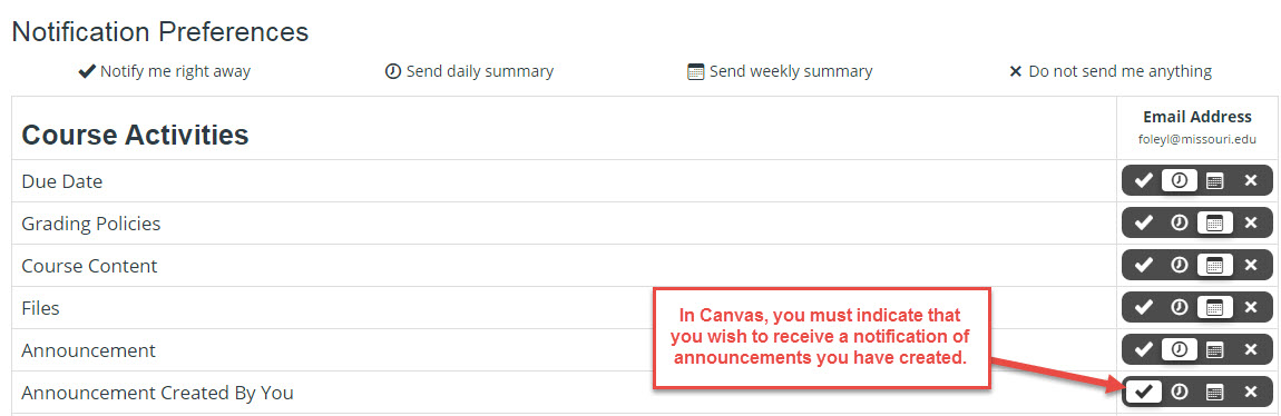 Setting notification preferences in Canvas. Announcements Created By You selected for immediate notifications.