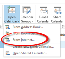 Open Calendar from Internet menu