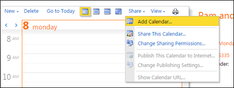 Add Calendar in Microsoft Outlook webmail interface
