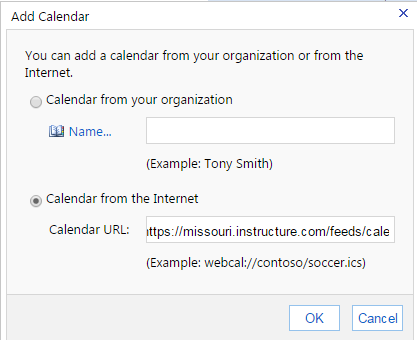 Calendar from Internet dialog box in Outlook webmail. Calendar from the Internet is selected, with Canvas iCal link pasted.