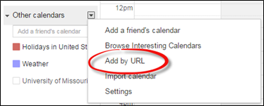 Other Calendars dialog box in Google Calendar. Add by URL is circled in red.