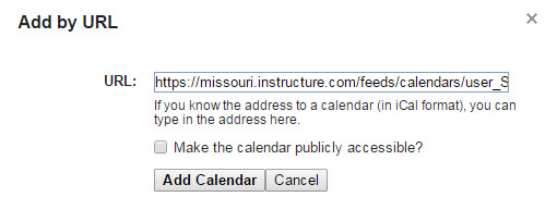 Add by URL dialog box in Google Calendar, Canvas iCal link pasted in URL box.