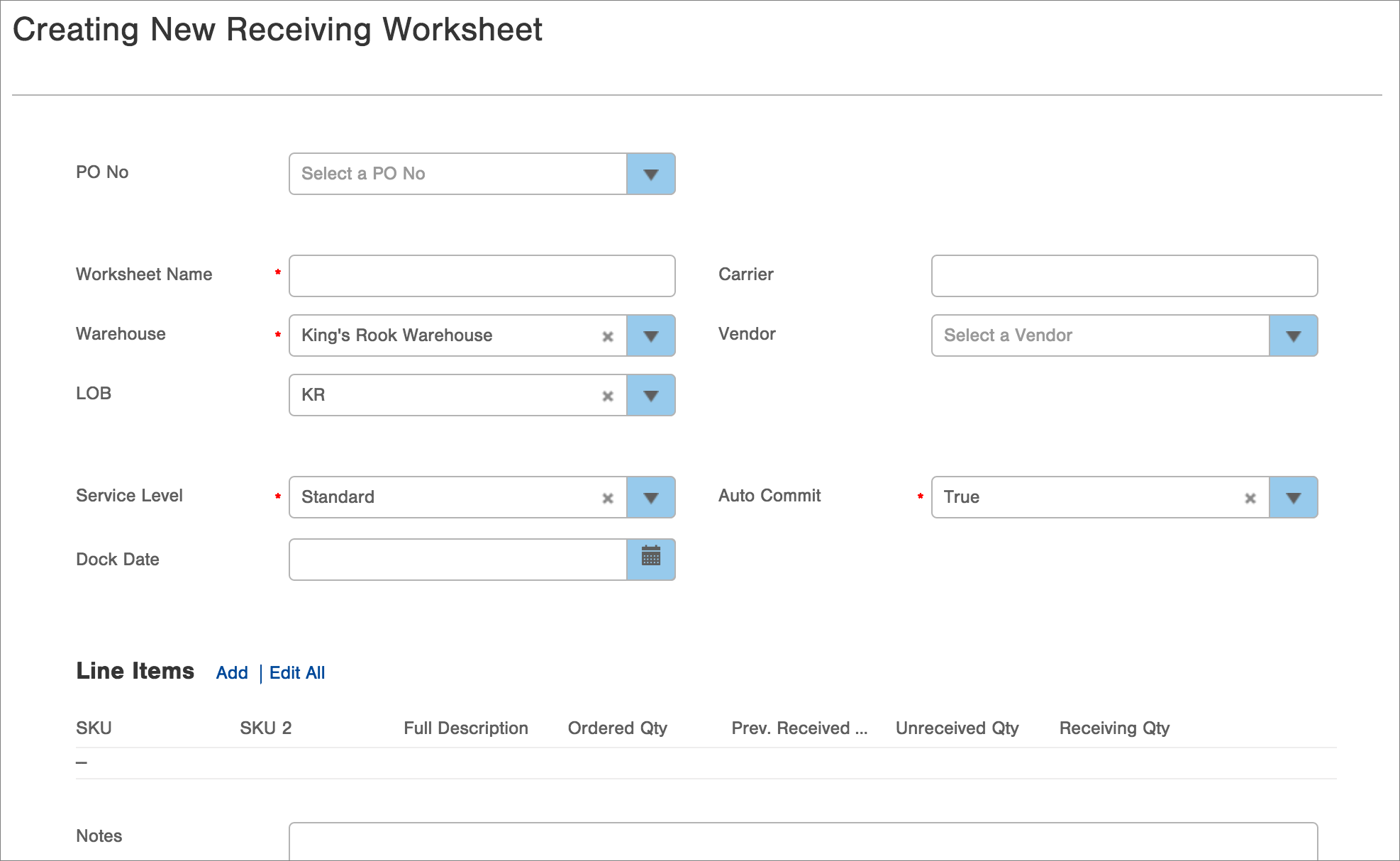 Create Edit Receiving Worksheet Infoplus Support – Create Worksheet