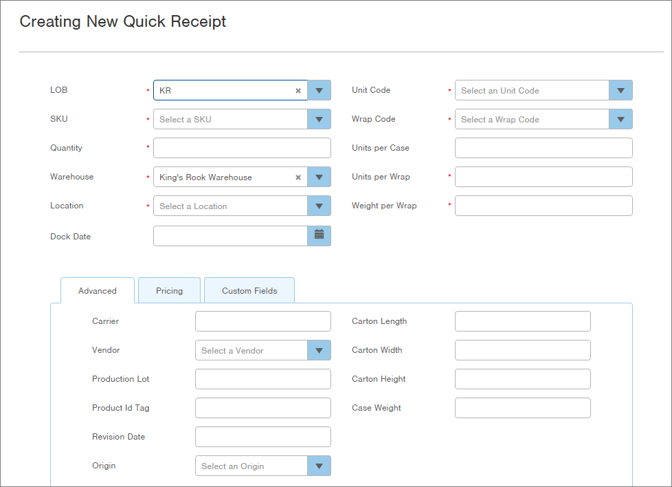 create quick receipts infoplus support