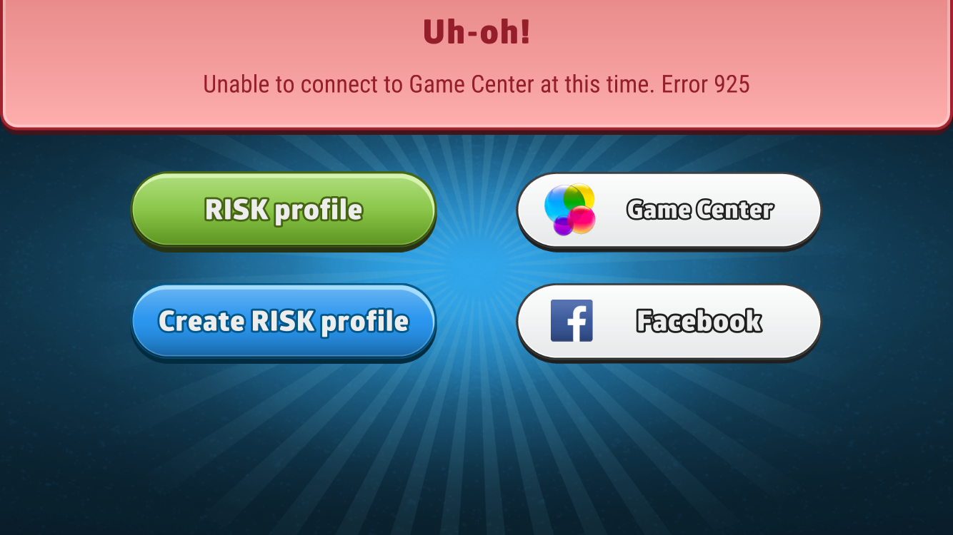 risk error 925 i can u0027t connect to game center smg studio