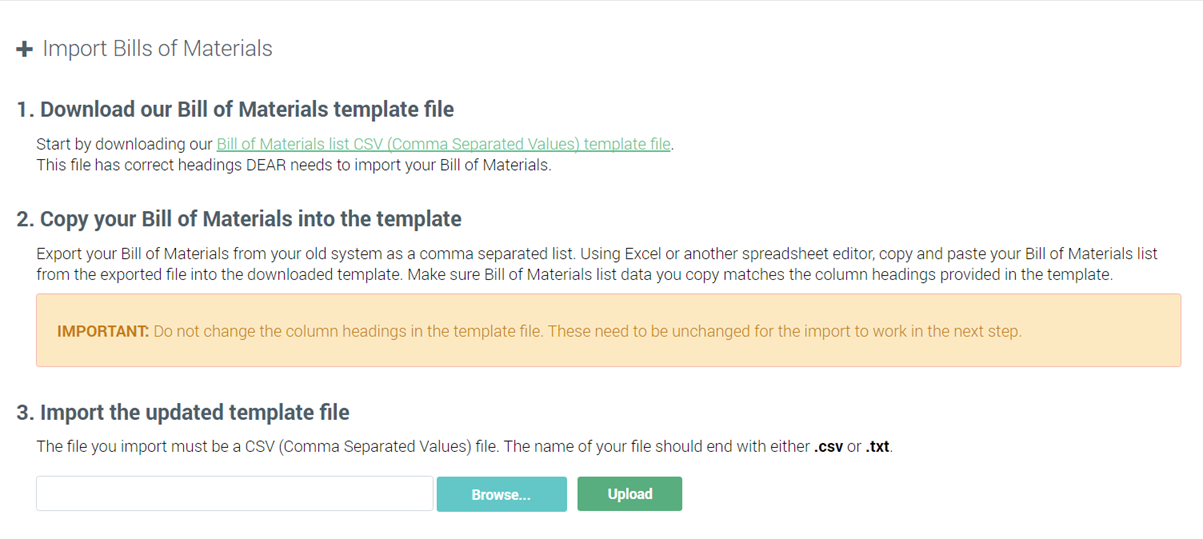 Import CSV files : DEAR Support Team