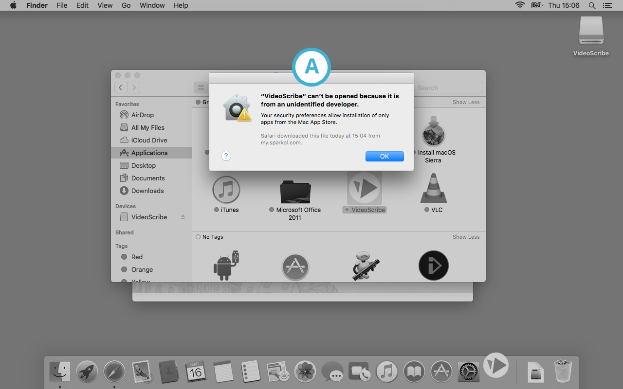 Unidentified developer' message on a Mac : VideoScribe