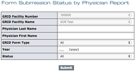 GRID Form Submission Status by Physician Filter