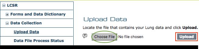LCSR Upload Data Menu