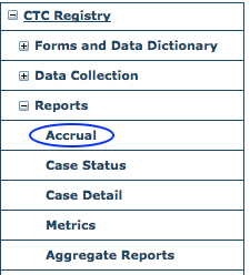 CTC Reports Menu - Accrual