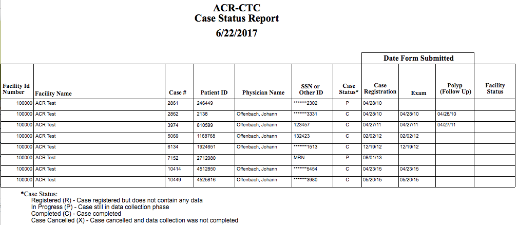 CTC Case Status Report