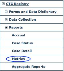 CTC Reports Menu - Metrics