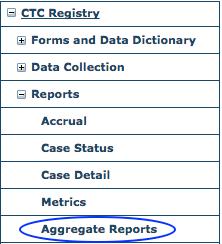 CTC Reports Menu - Aggregate Reports
