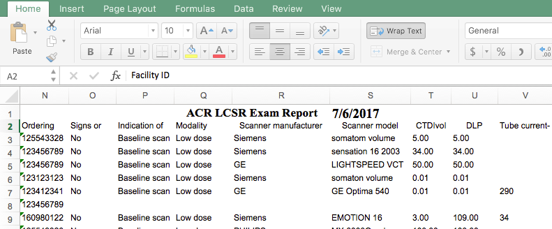 LCSR Data Export - Lung Exam Report