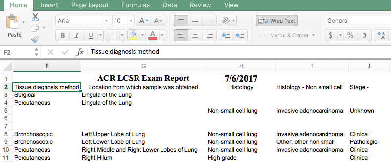 LCSR Data Export - Lung Follow-up Report