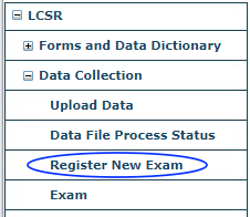 LCSR Data Collection Menu