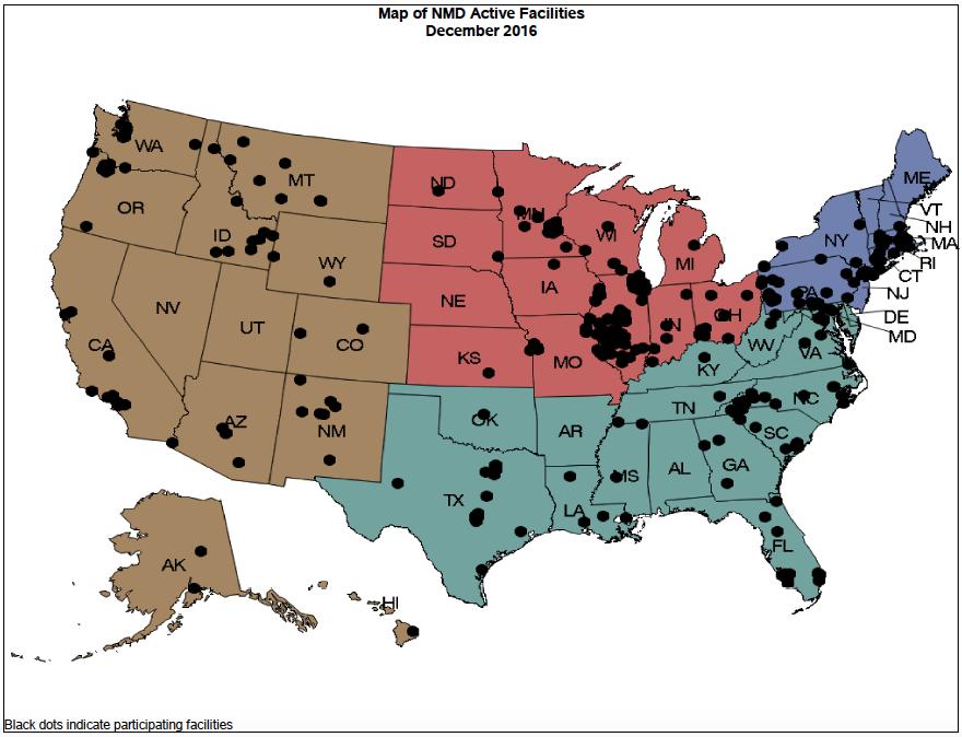 NMD Facilities Report - Active Facilities Map